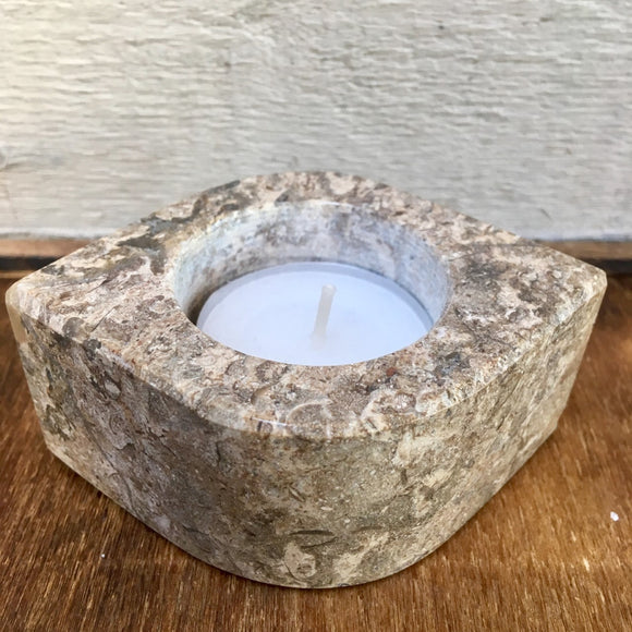 Fossilstone tealight holder (Eye)