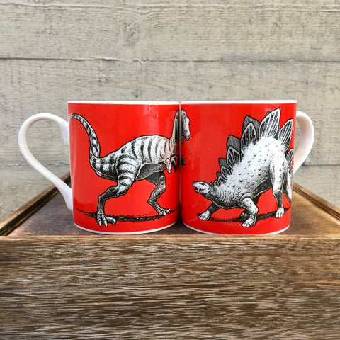 Allosaurus & Stegosaurus Bone China Dinosaur Mug