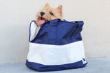 MEDIUM Travel Bag Navy with White Pockets
