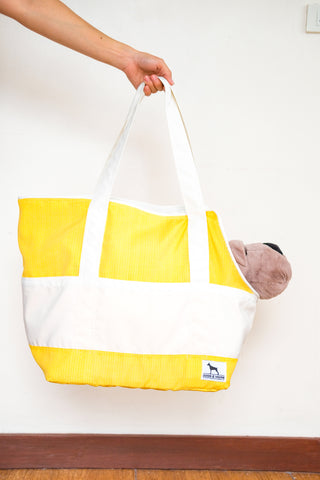XS Travel Bag Yellow with White Pockets