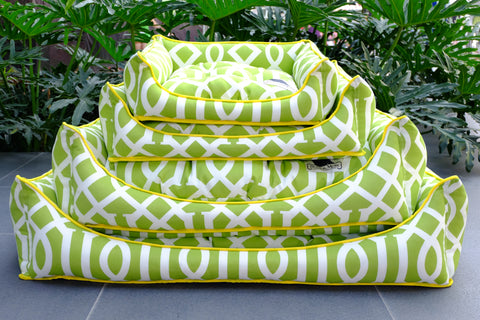 Premium Luxebed Medium - Lime Green Trellis #140