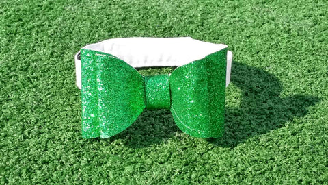 Holiday Double Bow - Glitter Green