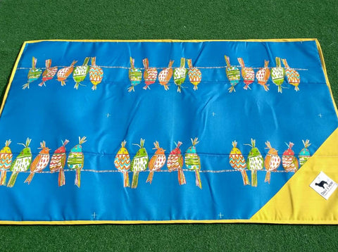 Travel Mat #31 Royal Blue Birds 35x55 Inches