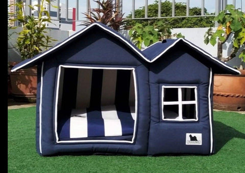 Posh Pillow House Deluxe Large - Navy Stripes