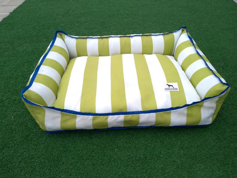 Premium Luxebed Small - Lime Green and White Stripes  with Blue Trim #105