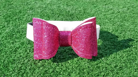 Holiday Double Bow - Glitter Fuschia