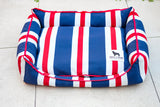 Premium Luxebed Small - Navy with Red White Stripes