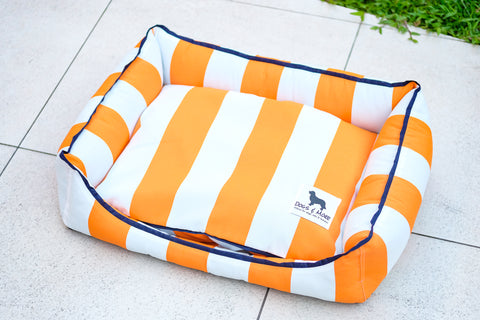 Premium Luxebed Small - Orange with White Stripes #206