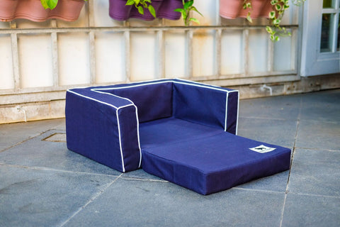 Sofa Sleeper Medium - Navy with White Trim