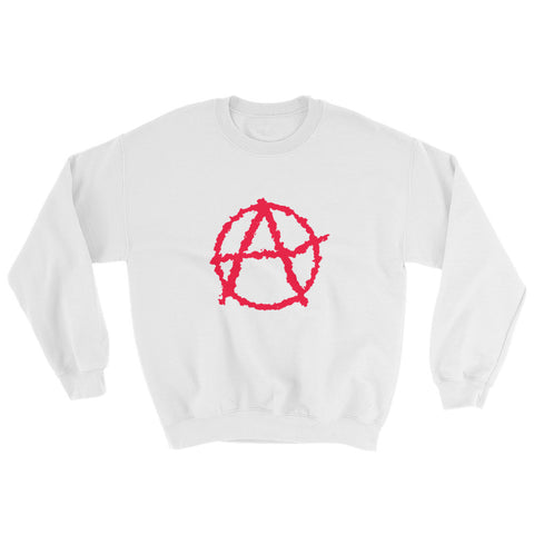 white anarchy sweatshirt society seeks order in anarchy with big logo on stomach