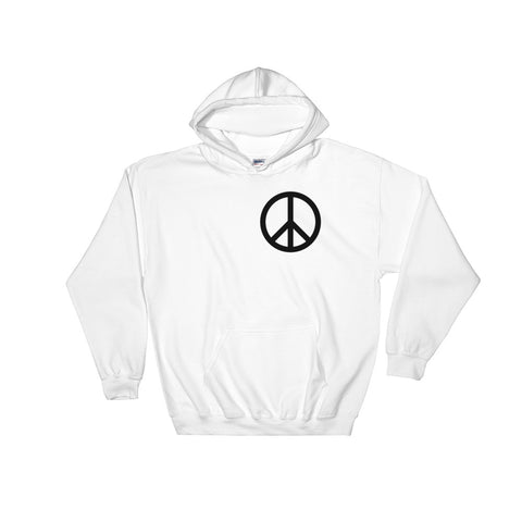 white communist Peace Hoodie with peace sign