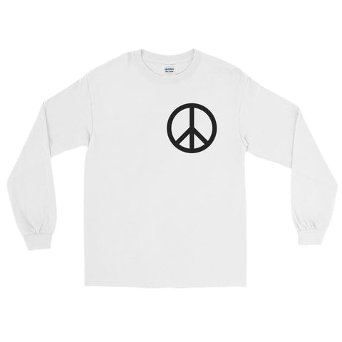 White Peace Long Sleeve with logo on left side