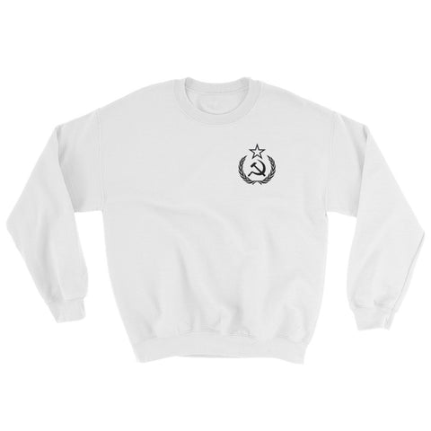 White Comrade Sweatshirt with small communist logo on left side