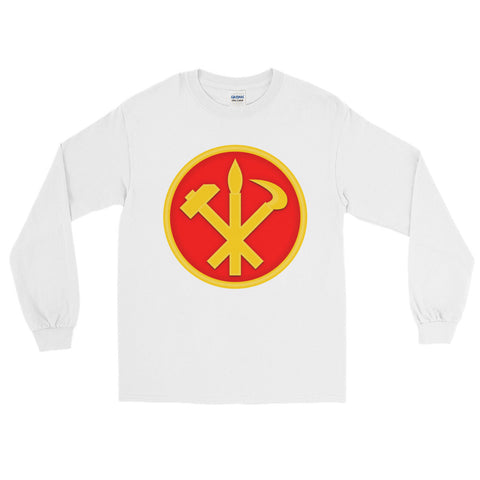 White North korea Juche long sleeve tshirt with a big logo