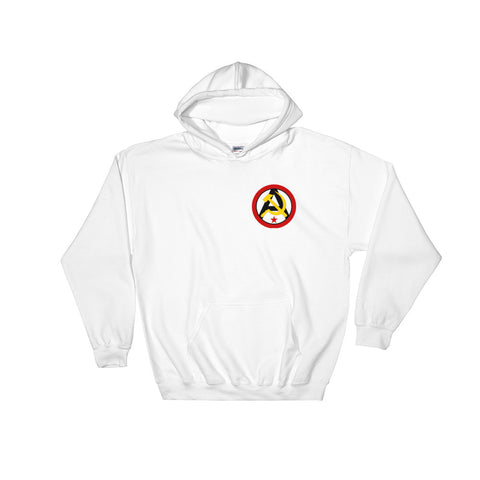 white Anarcho Communist Hoodie small logo on the left