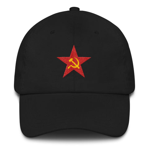 blackSoviet Cap with red star and hammer and sickle