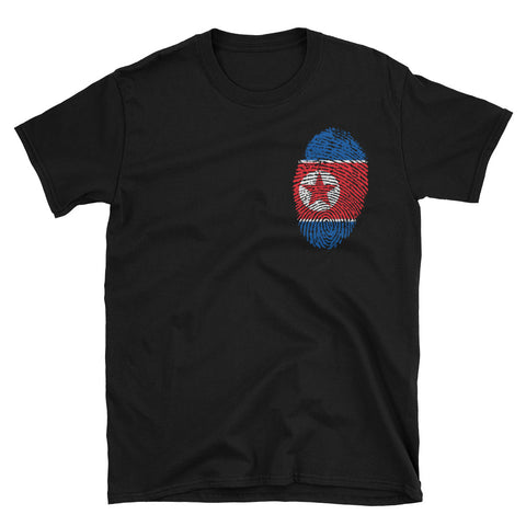 Black North Korea flag fingerprint tshirt with logo on the left side