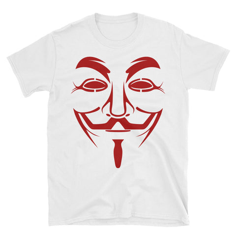 white Anonymous tshirt with big anonymous logo on stomach