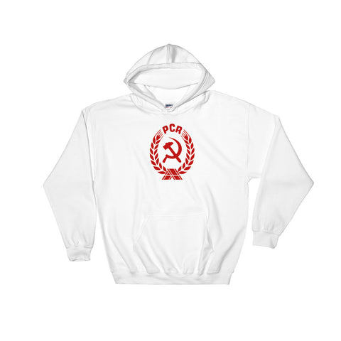 white PCR Coat of Arms Hoodie with medium communist logo