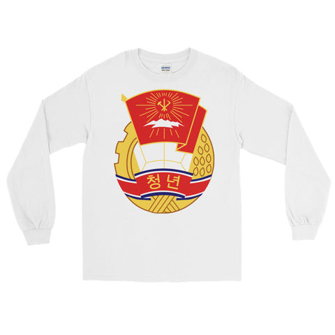 white North Korea KS Youth League long sleeve tshirt with KSYL logo on stomach