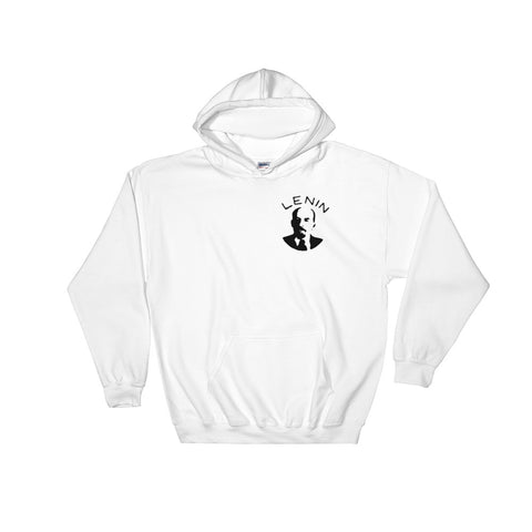 white The Lenin Hoodie with leninist small logo on chest