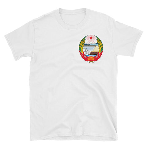 White North Korea Coat of Arms T-Shirt with small NK Juche Logo on left side