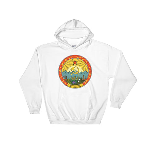 White Soviet Union Hoodie with round communist emblem