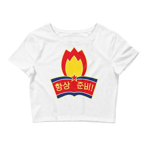 White North Korea Youth League Crop Tee with North Korean logo
