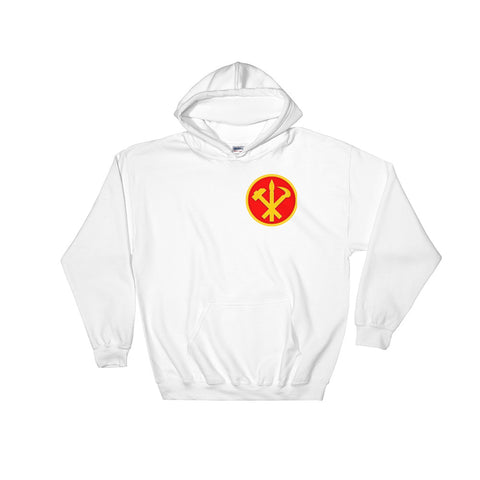White North korea Juche Hoodie with a small logo on the left side