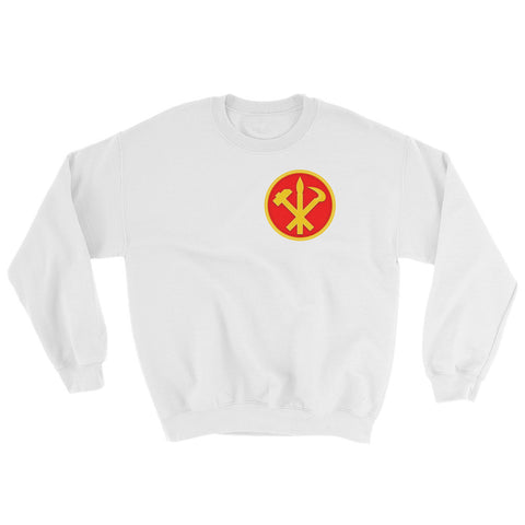 White North korea Juche Sweatshirt with a small logo on the left side