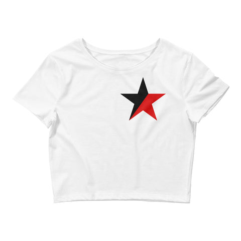 White Anarcho Syndicalism Crop Tee, red and black star