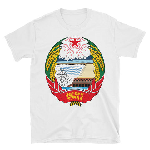 White North Korea Coat Of Arms T-Shirt with North Korea Juche Logo on front