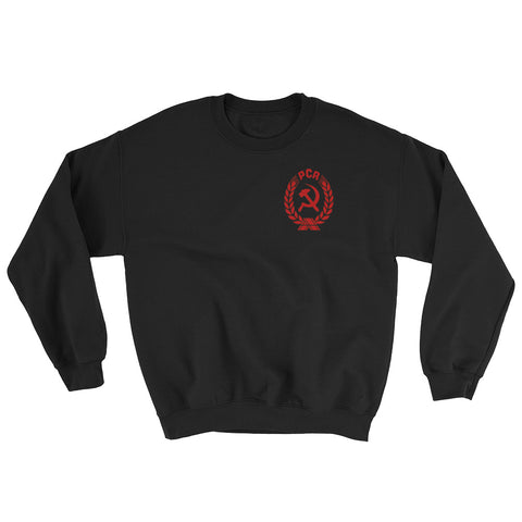 black Coat of Arms PCR Sweatshirt with small logo on left side