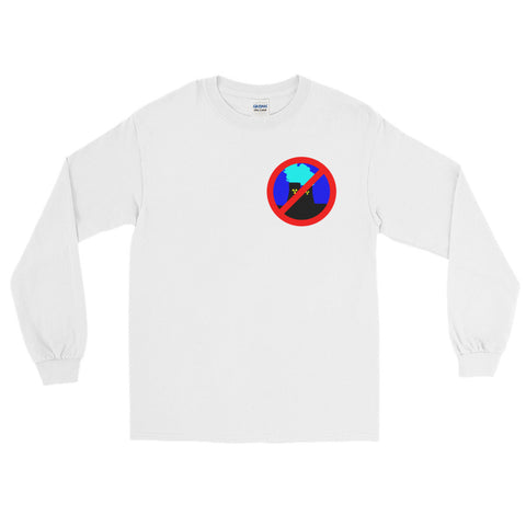 white Anti Nuclear long sleeve tshirt crossed out logo