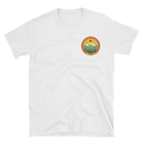white Soviet Union Tshirt emblem small
