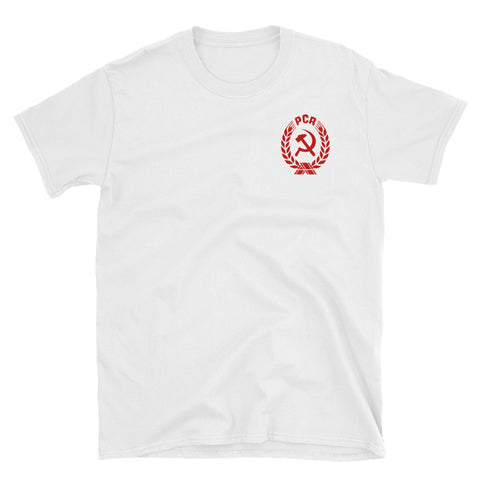 white PCR Coat of Arms Tshirt with communist logo