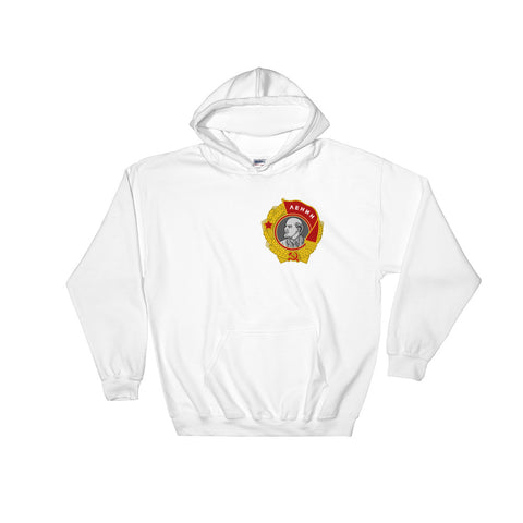 white Order of Lenin hoodie, with small logo on left side