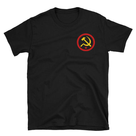 Black Anarcho Communist T-Shirt with ancom logo