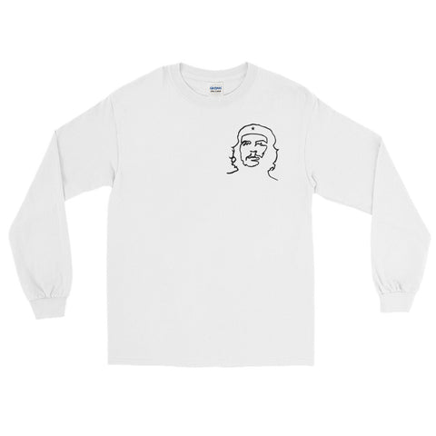 White Che Guevara Long Sleeve T-Shirt hand drawn logo classic