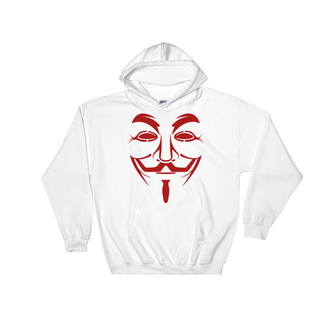 white Anonymous Hoodie with a big anonymous logo on stomach