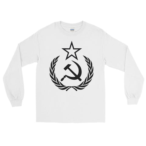 White Comrade Long sleeve T-Shirt with big communist logo