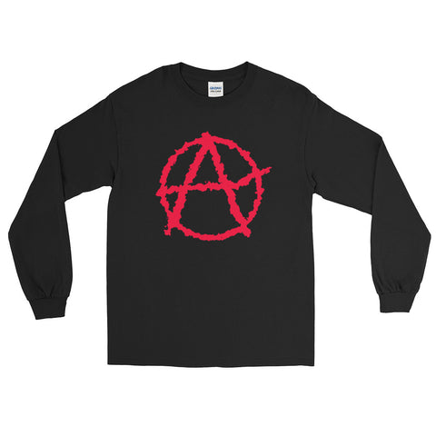 black anarchy long sleeve tshirt society seeks order in anarchy with big logo on stomach
