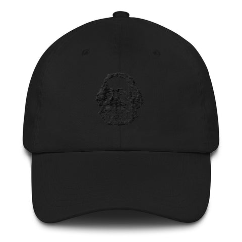 black embroidered Karl Marx Cap with logo on front