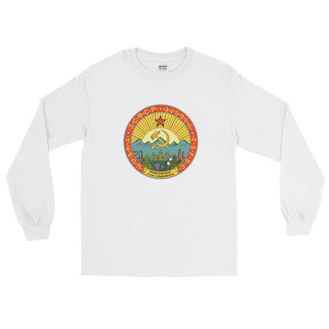 White Soviet Union Long Sleeve tshirt with round communist logo