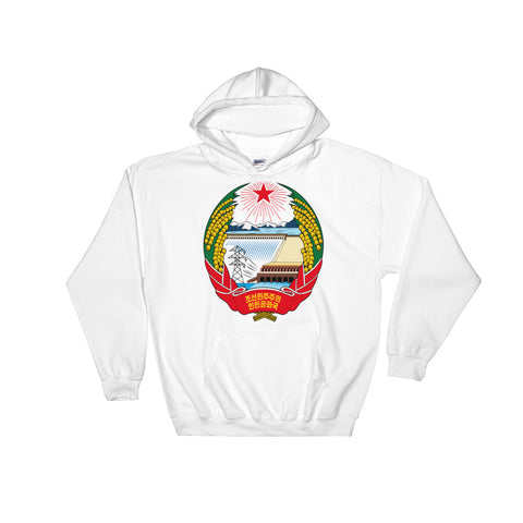 White North Korea Coat of Arms Hoodie with a logo of North Korea on the front Hoodie