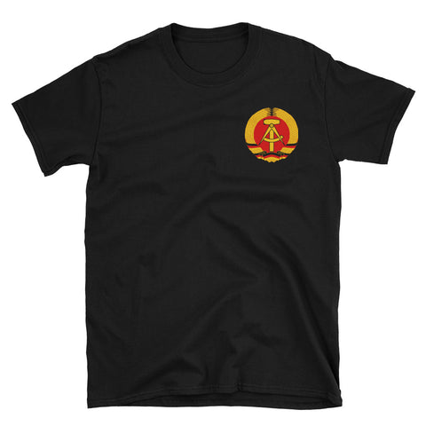 black tshirt with a smal logo on left side Coat of arms of the German Democratic Republic National emblem of East Germany