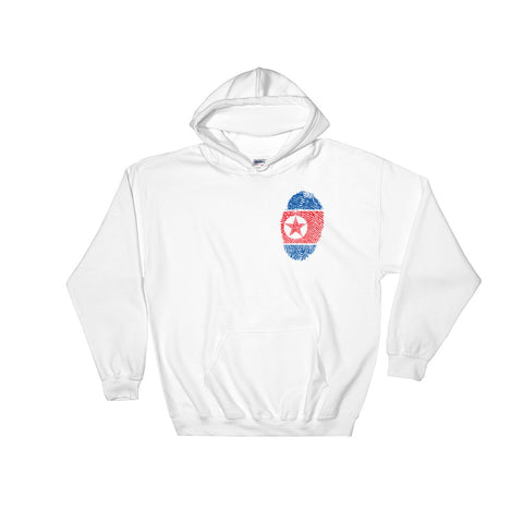 white North Korea Fingerprint Hoodie made from the communist North Korea flag