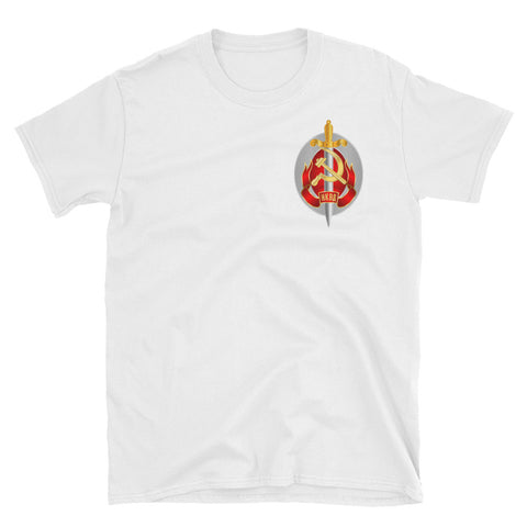 White KGB Tshirt with a logo of KGB with circle of hammer and sickle with sword in front