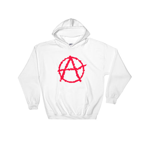 white anarchy Hoodie society seeks order in anarchy with big logo on stomach