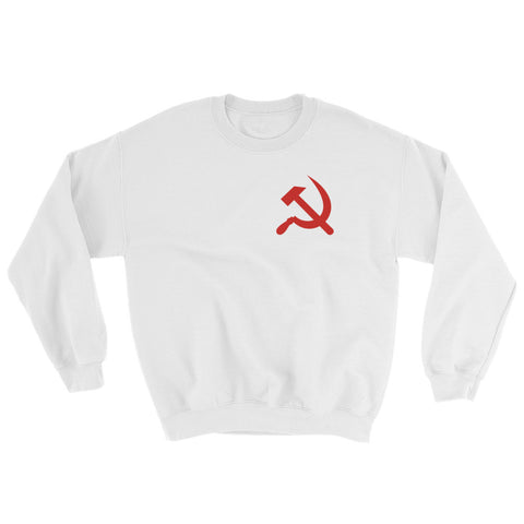 white Hammer and Sickle sweatshirt with small communism logo